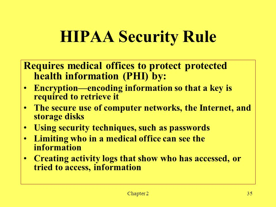 HIPAA Security Rule Requires medical offices to protect protected health information (PHI) by: