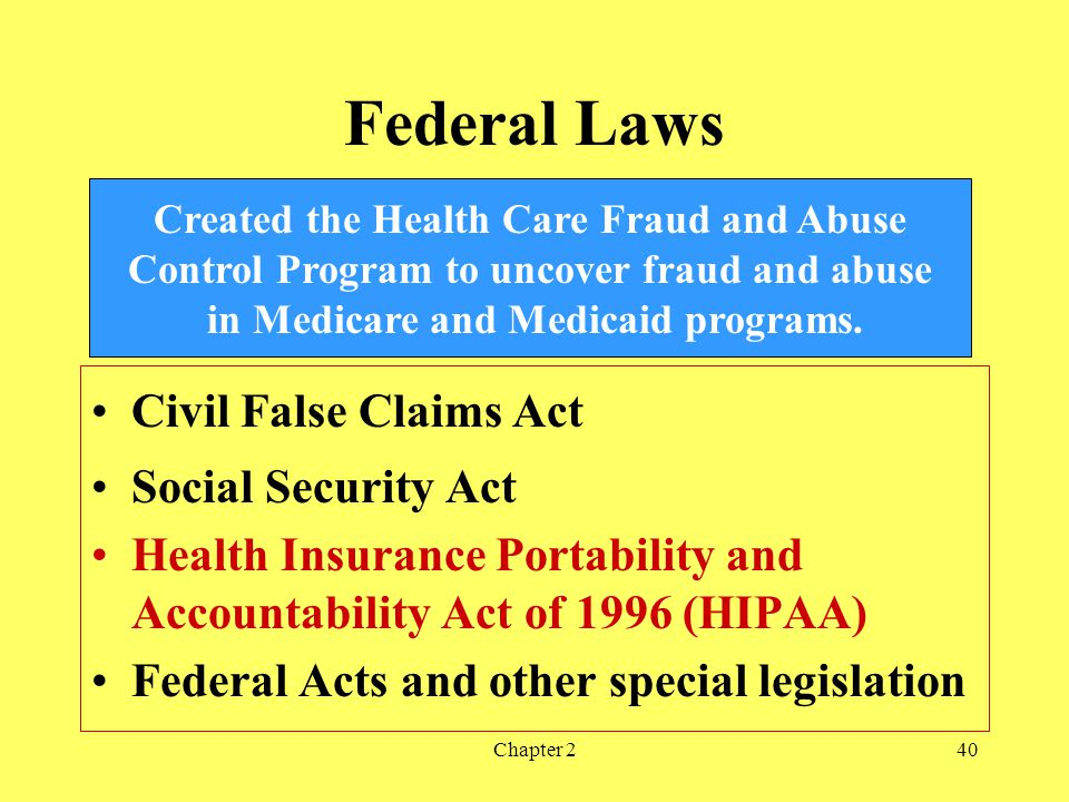 Federal Laws Civil False Claims Act Social Security Act