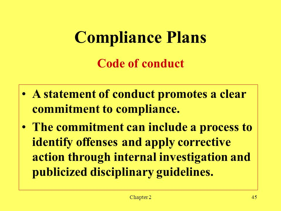 Compliance Plans Code of conduct