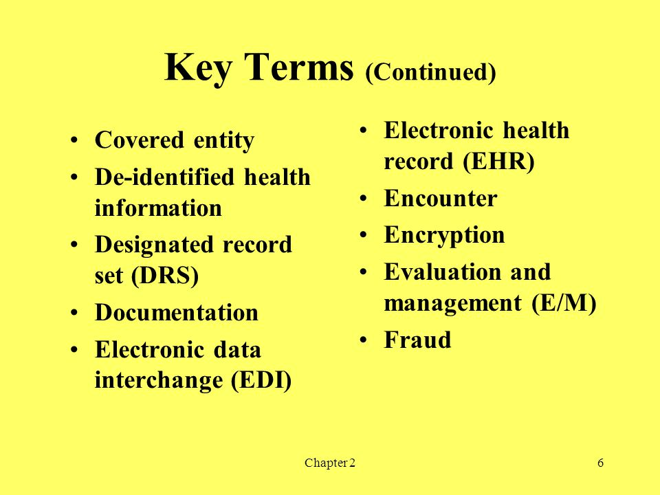 Key Terms (Continued) Electronic health record (EHR) Covered entity