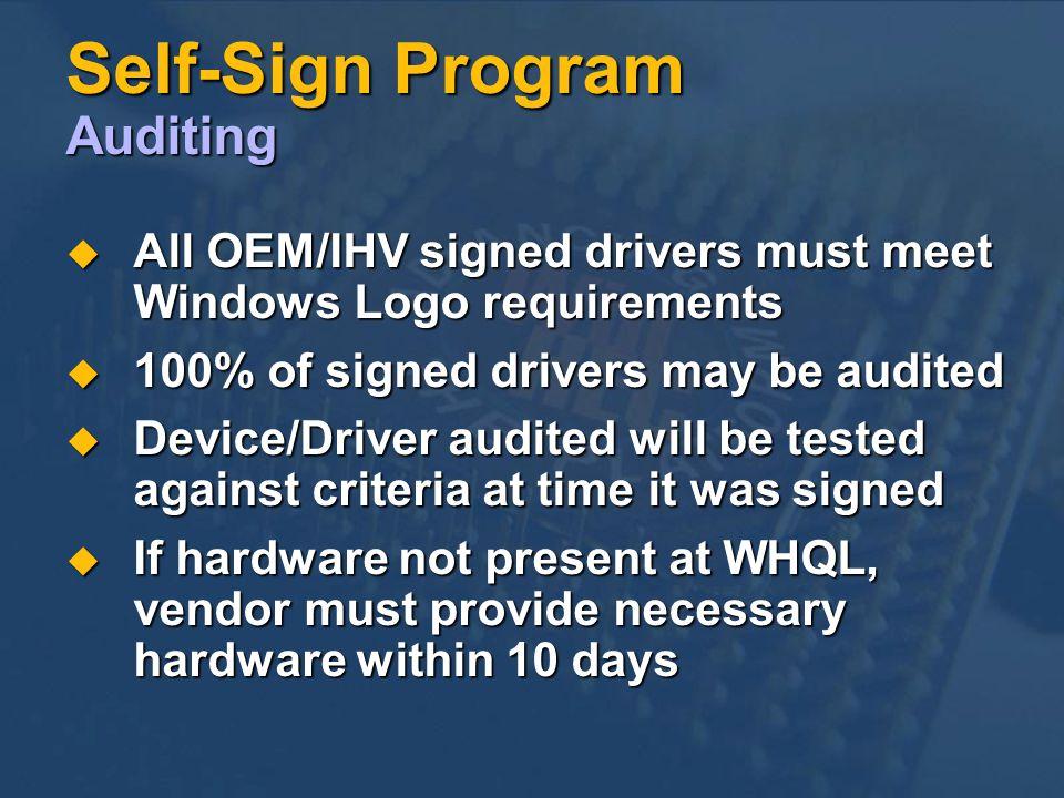 Self-Sign Program Auditing