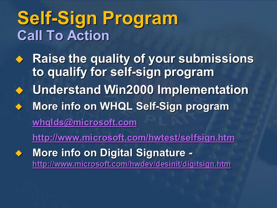 Self-Sign Program Call To Action