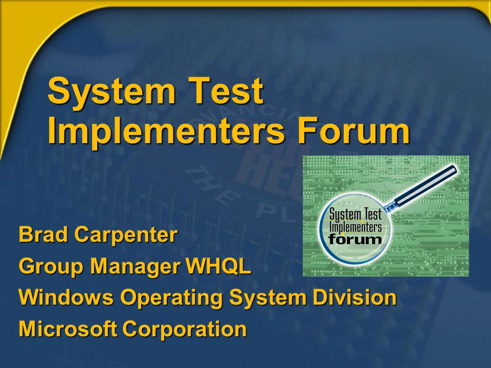 System Test Implementers Forum