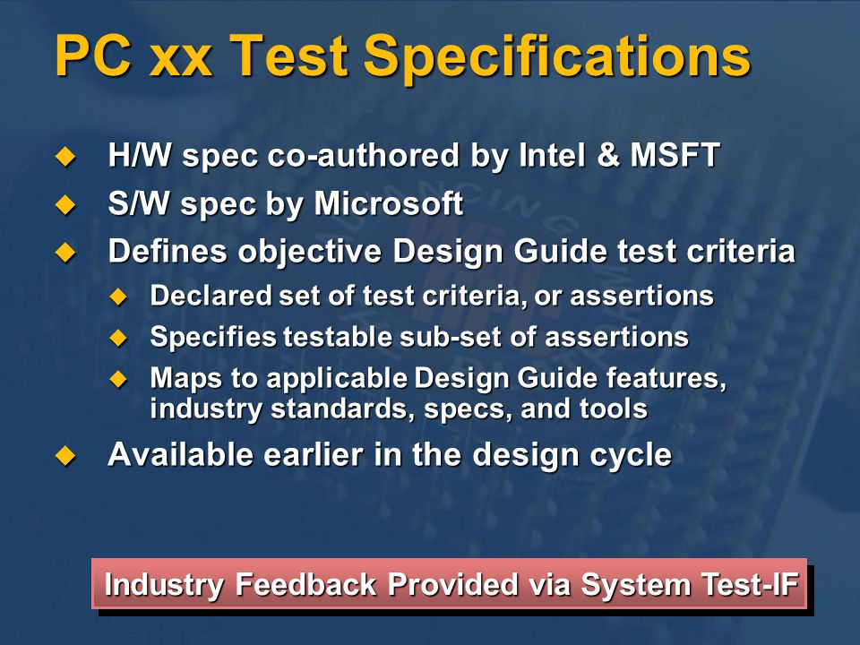PC xx Test Specifications