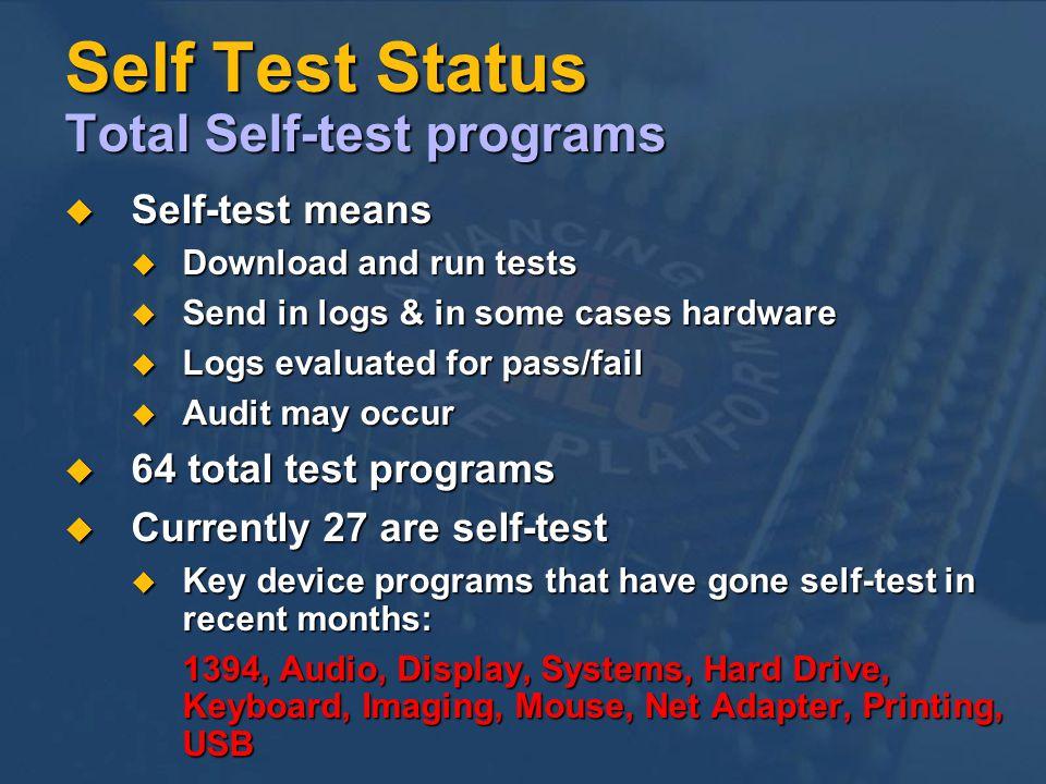 Self Test Status Total Self-test programs