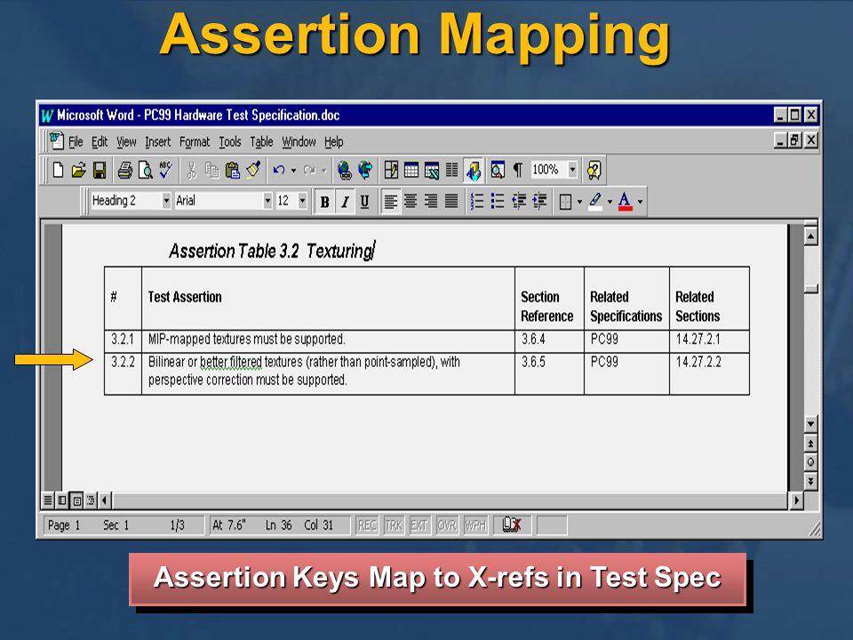 Assertion Keys Map to X-refs in Test Spec