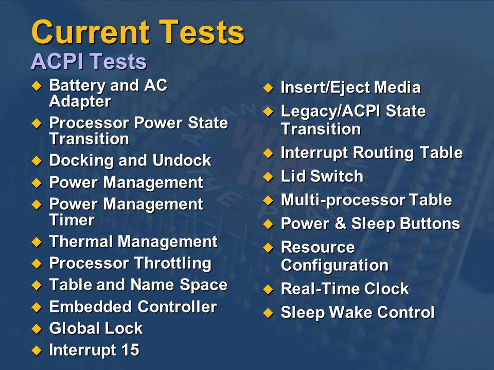 Current Tests ACPI Tests