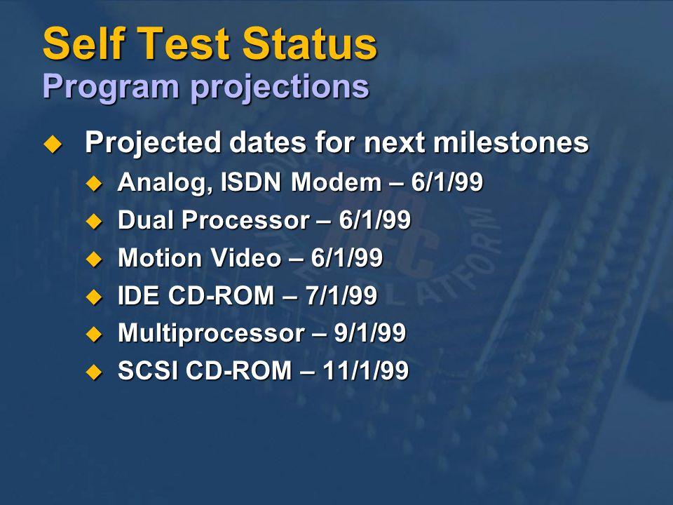 Self Test Status Program projections