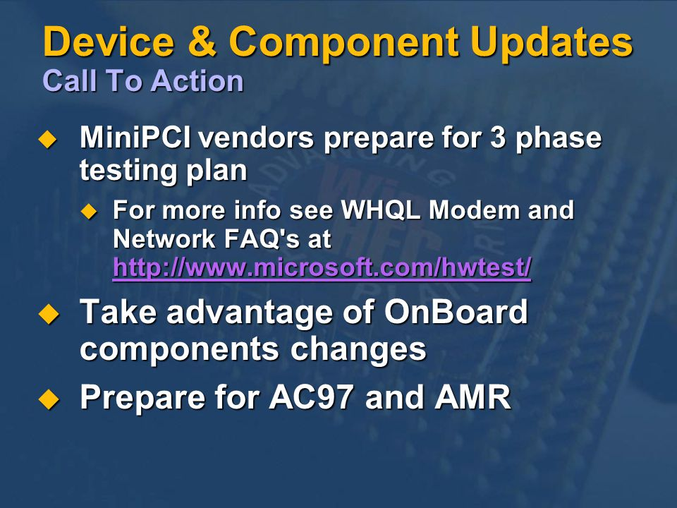 Device & Component Updates Call To Action