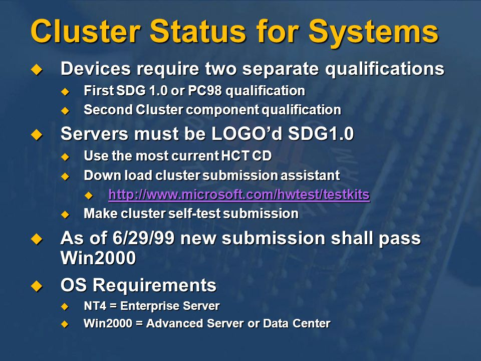 Cluster Status for Systems