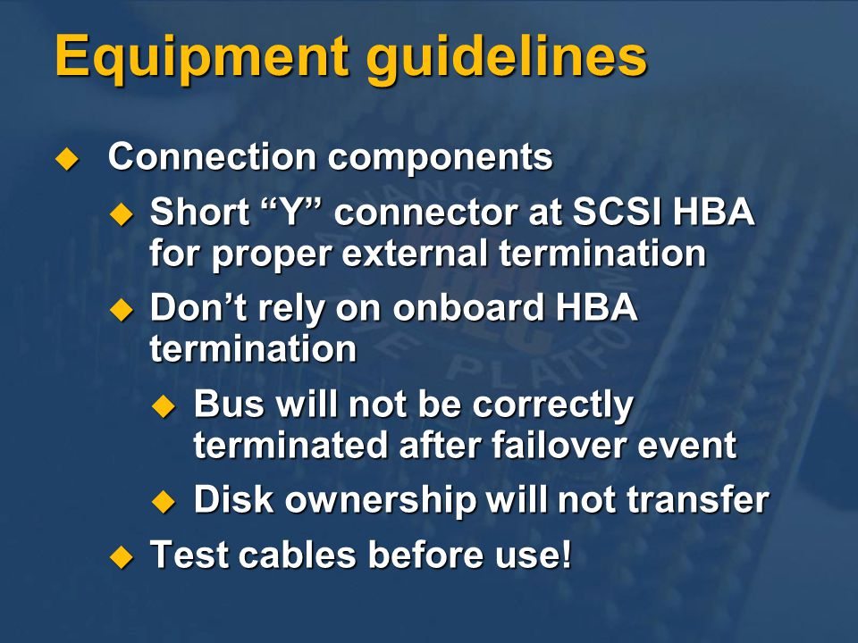 Equipment guidelines Connection components