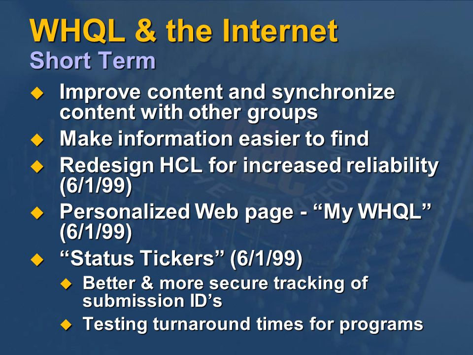 WHQL & the Internet Short Term