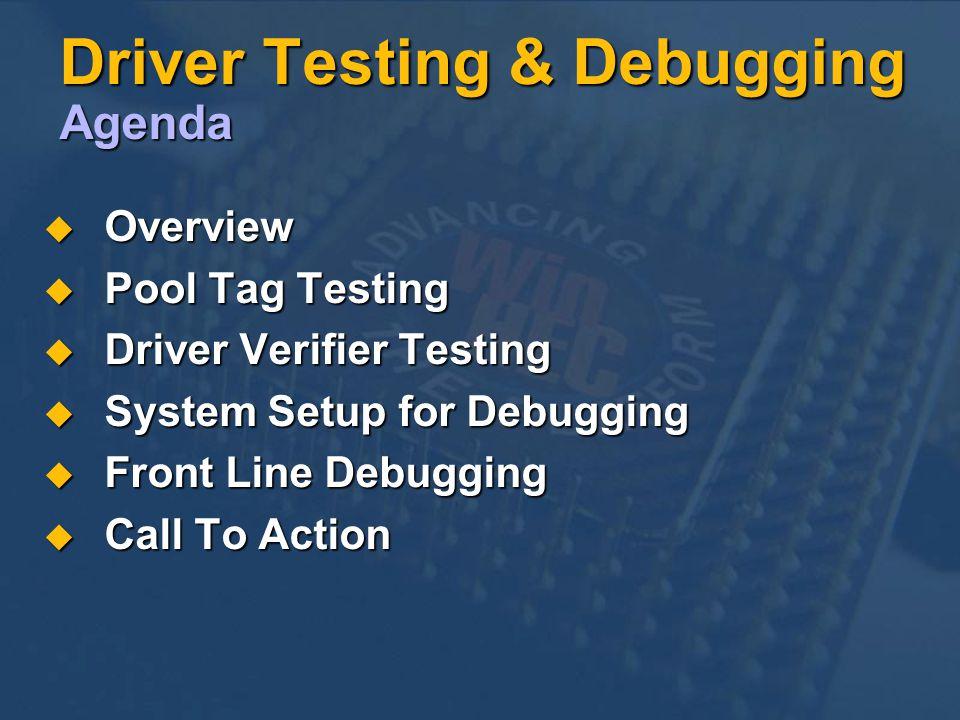 Driver Testing & Debugging Agenda