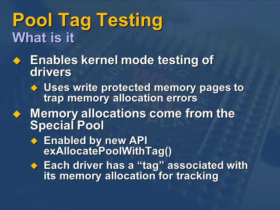 Pool Tag Testing What is it