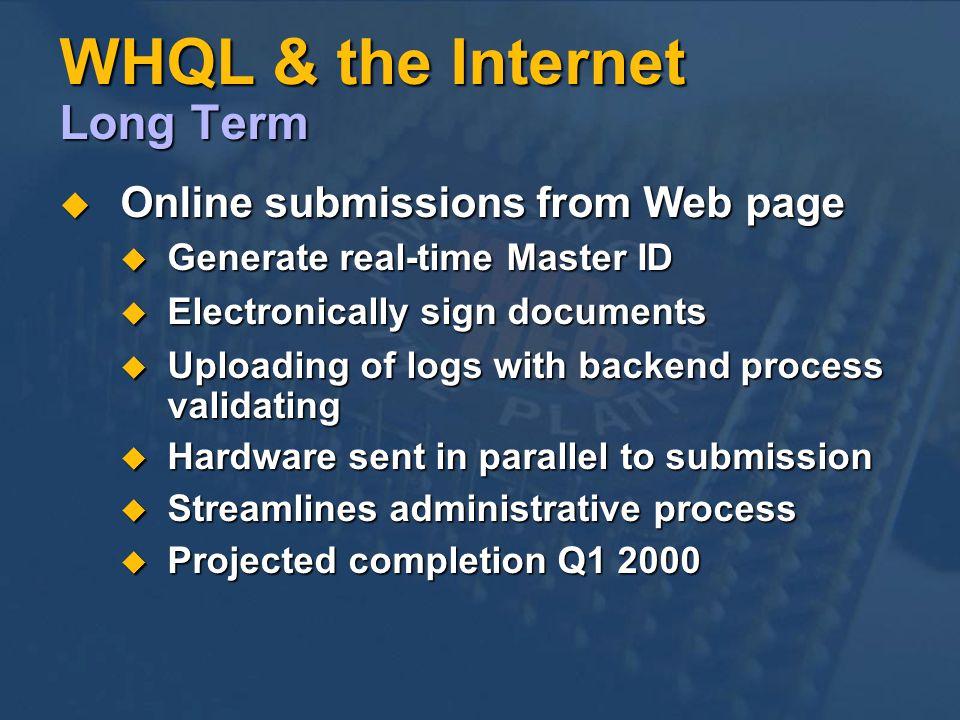 WHQL & the Internet Long Term