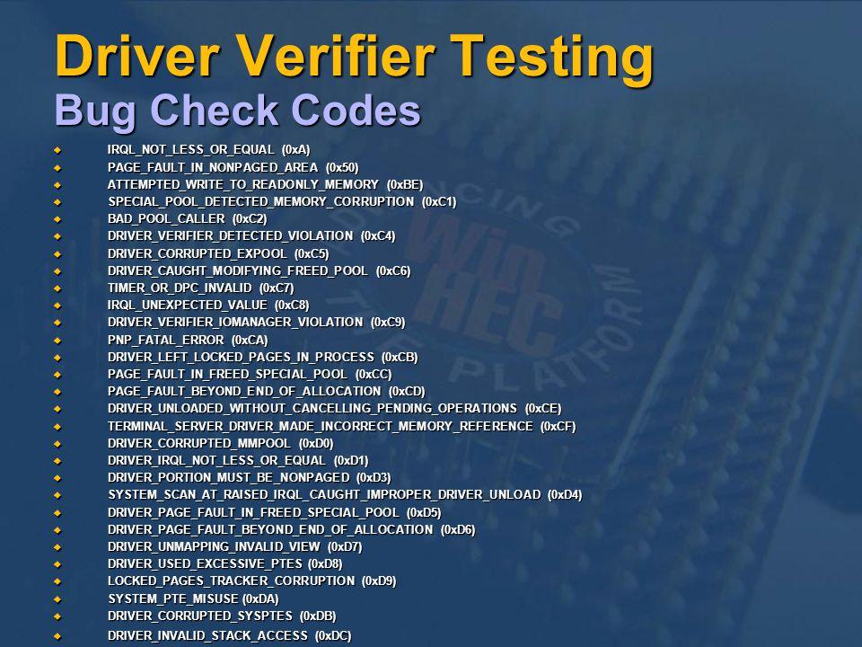 Driver Verifier Testing Bug Check Codes