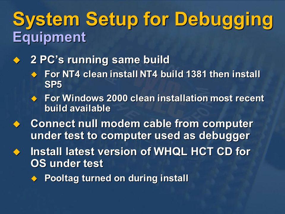 System Setup for Debugging Equipment