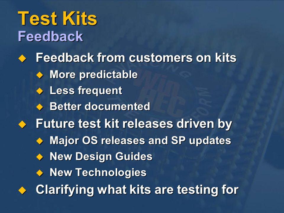 Test Kits Feedback Feedback from customers on kits