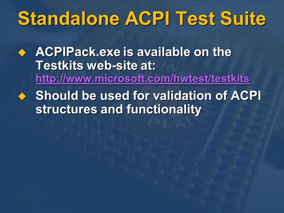 Standalone ACPI Test Suite