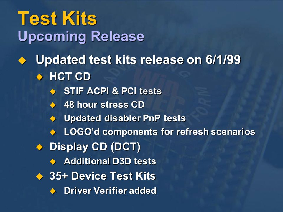 Test Kits Upcoming Release