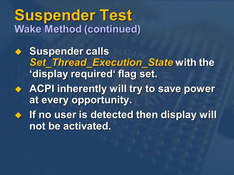 Suspender Test Wake Method (continued)