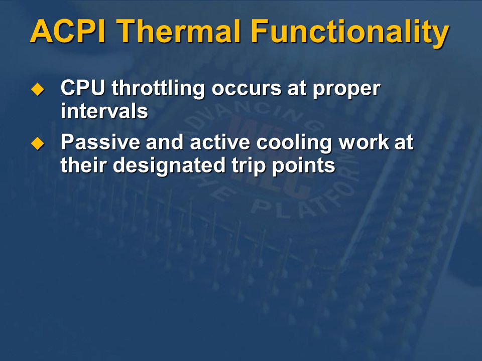 ACPI Thermal Functionality