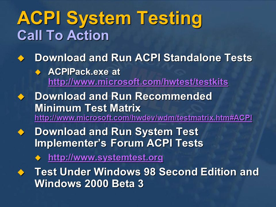 ACPI System Testing Call To Action