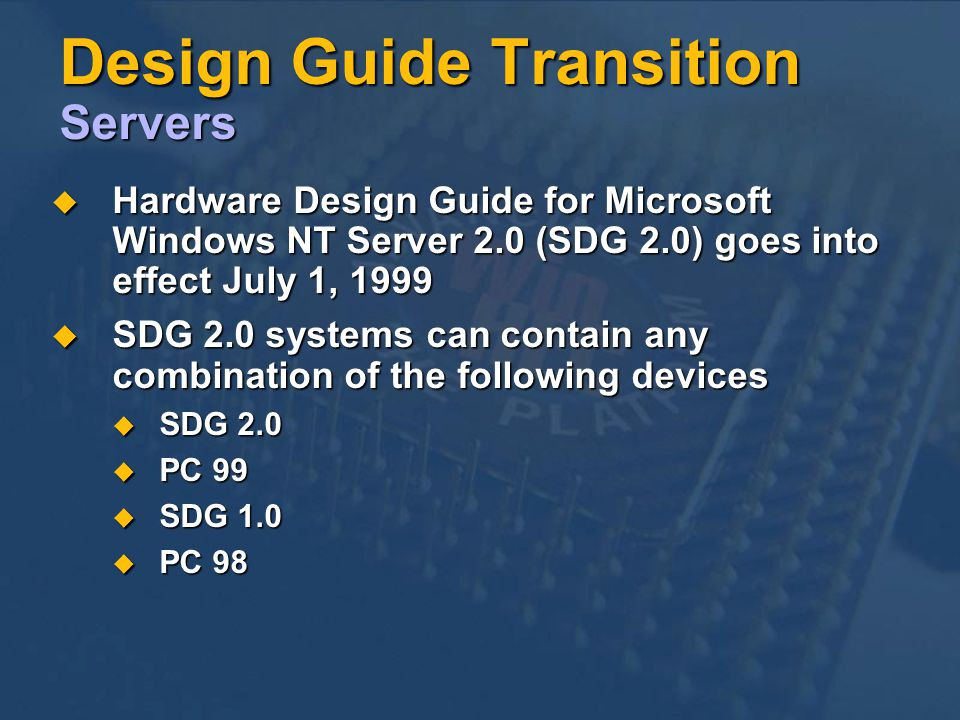 Design Guide Transition Servers