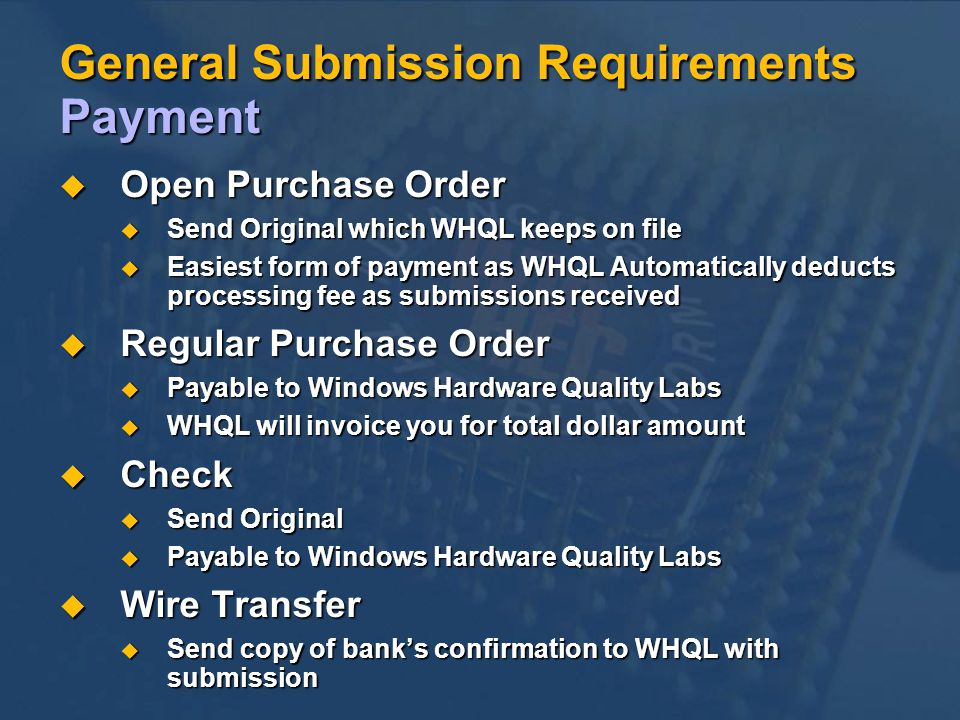 General Submission Requirements Payment