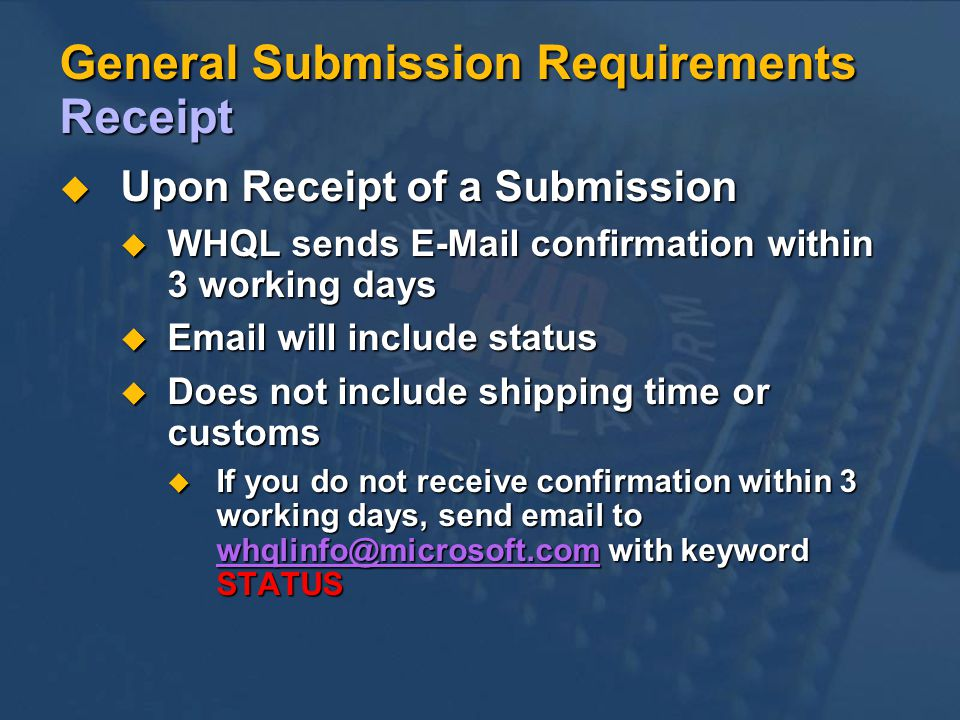 General Submission Requirements Receipt