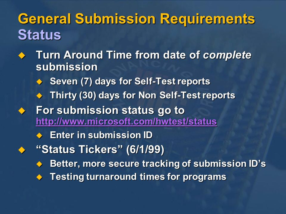 General Submission Requirements Status