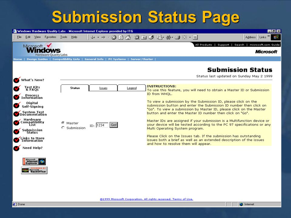 Submission Status Page