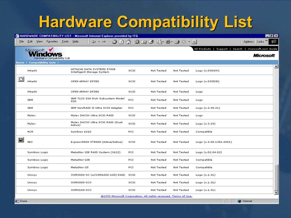Hardware Compatibility List