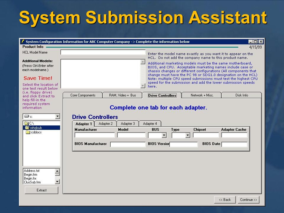 System Submission Assistant