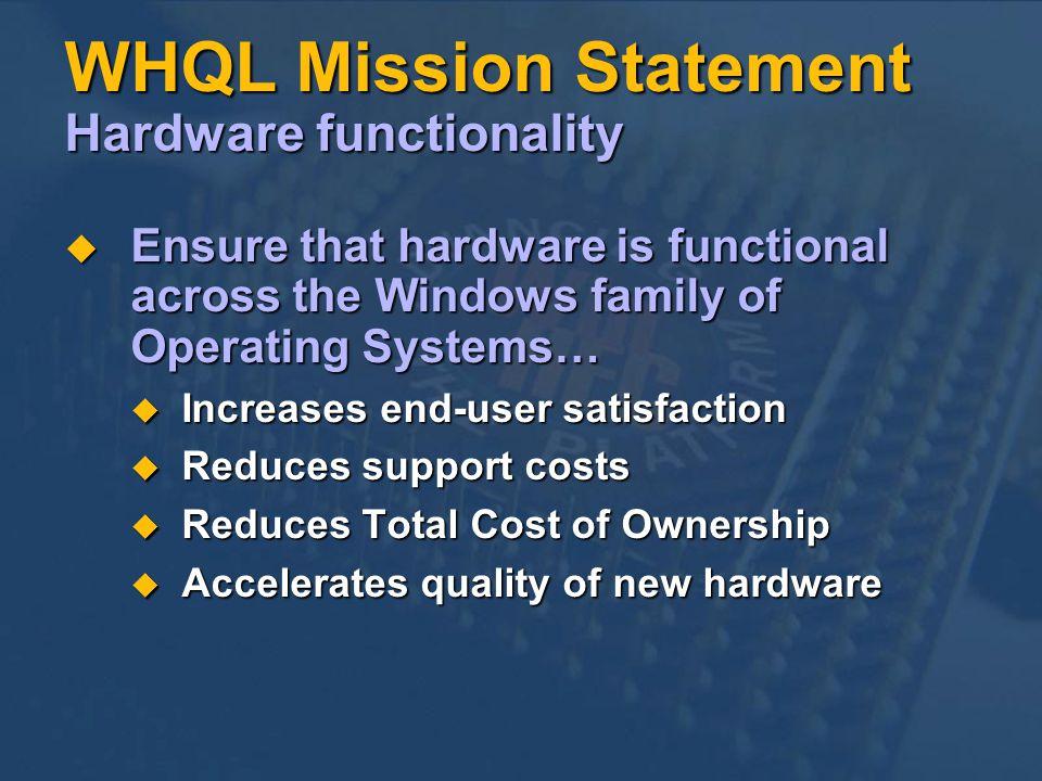 WHQL Mission Statement Hardware functionality