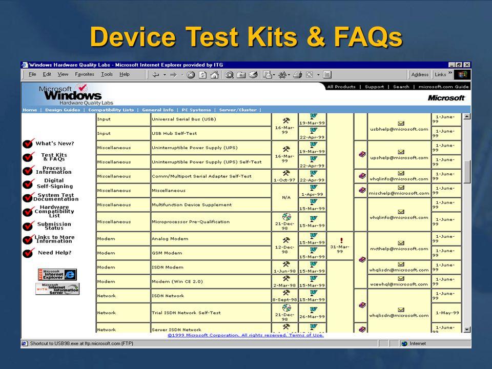 Device Test Kits & FAQs