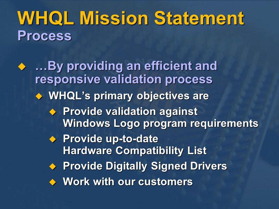 WHQL Mission Statement Process