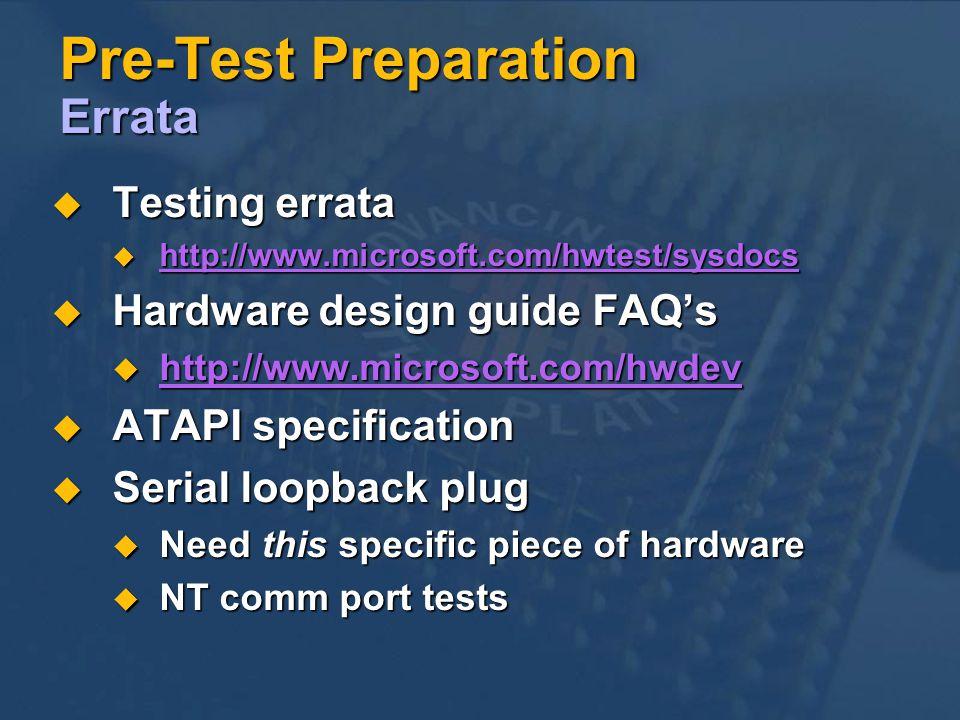 Pre-Test Preparation Errata