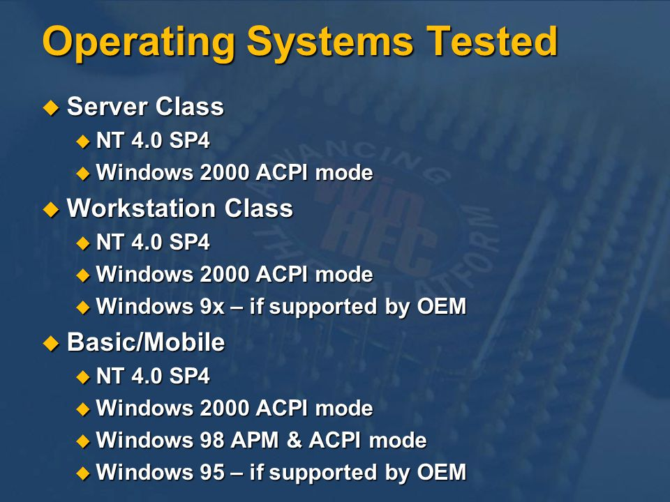Operating Systems Tested