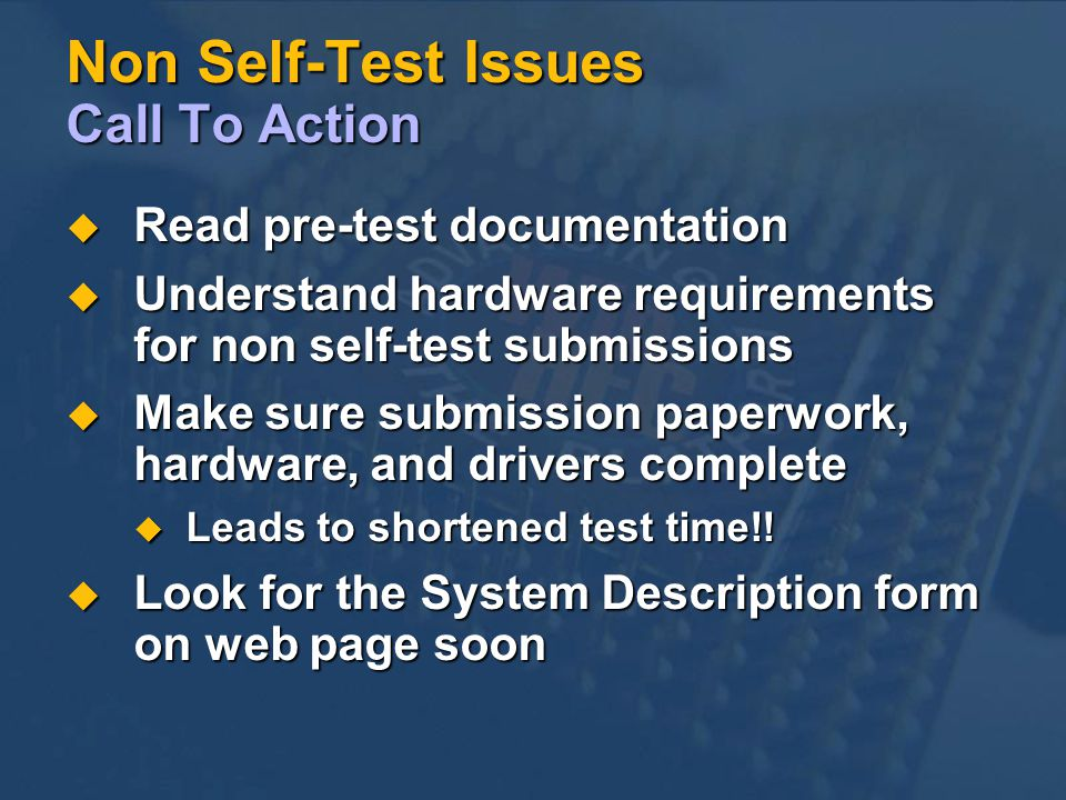 Non Self-Test Issues Call To Action