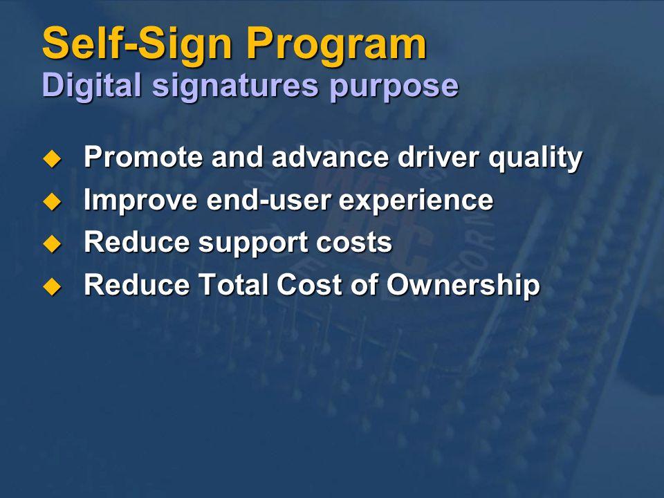 Self-Sign Program Digital signatures purpose