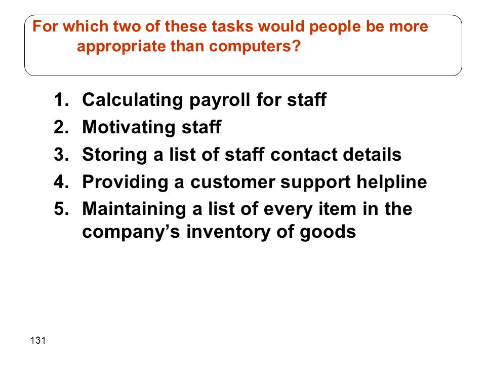 Calculating payroll for staff Motivating staff