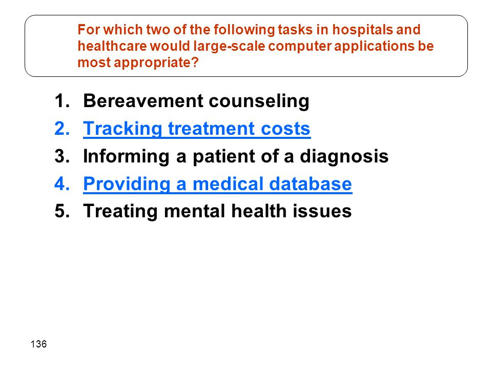 Bereavement counseling Tracking treatment costs