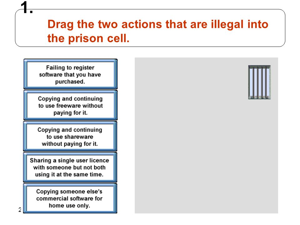 Drag the two actions that are illegal into the prison cell.