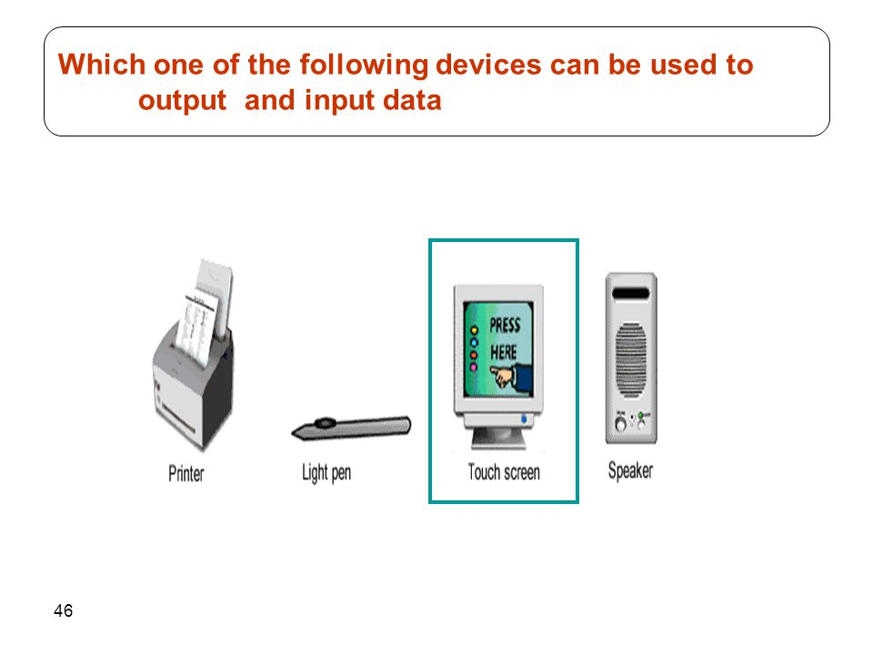 Which one of the following devices can be used to output and input data