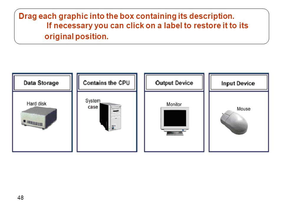 Drag each graphic into the box containing its description
