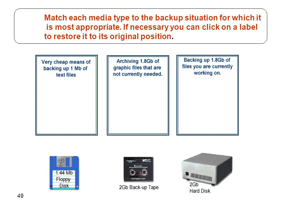Match each media type to the backup situation for which it is most appropriate.