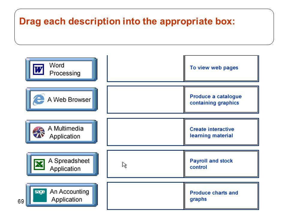 Drag each description into the appropriate box: