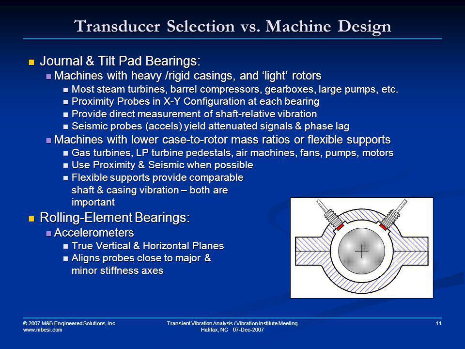Transducer Selection vs. Machine Design