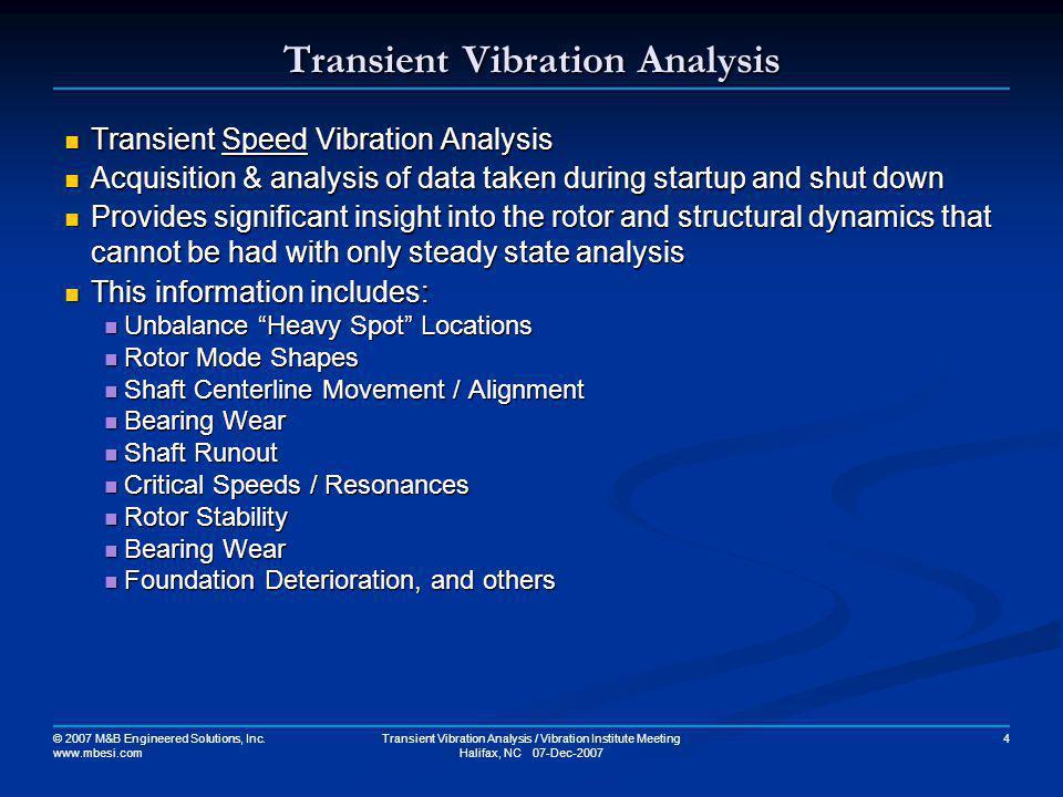 Transient Vibration Analysis